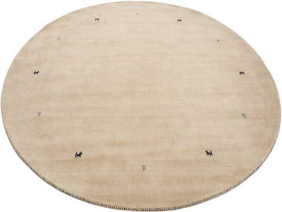 Wollteppich »Gabbeh Uni«, carpetfine, rund, Höhe 15 mm, reine Wolle, handgewebt, Gabbeh Tiermotiv, Wohnzimmer