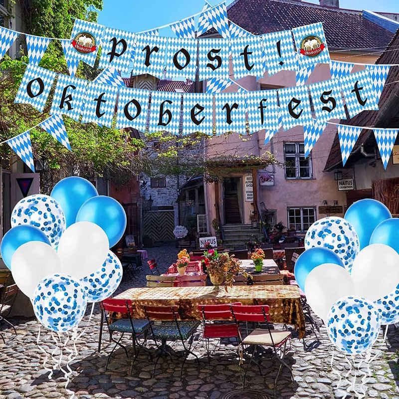 JI-ROC Aufblasbares Partyzubehör »Oktoberfest-Dekorationen, Oktoberfest-Banner. Blau-weiße Luftballons, Schwalbenschwanzlöwen hängende Fahnen, blau-weiß karierte Tischdecken, verwendet für die Oktoberfest-Bayerische Wiesenparty-Dekoration«