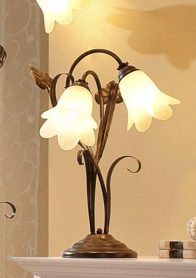 Tischlampe »Florentiner-Serie«, 2-flg. in braun/goldf.