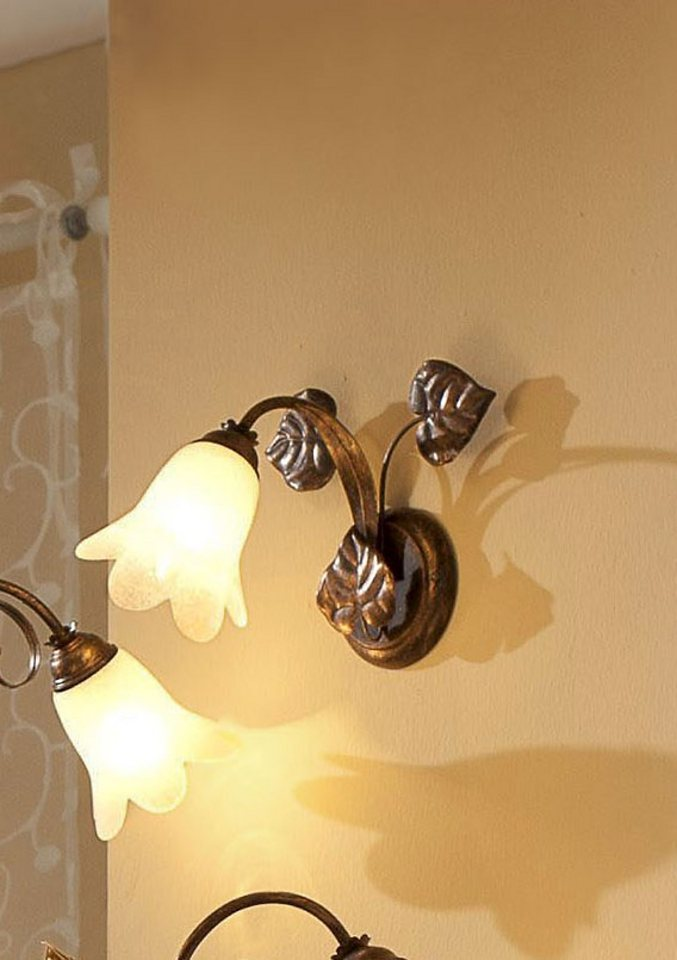 Wandlampe »Florentiner-Serie«, 1-flg. in braun/goldf.