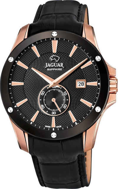 Jaguar Chronograph »UJ882/1 Jaguar Herren Armbanduhr ACM«, (Analoguhr), Herrenuhr rund, groß (ca. 44mm), Edelstahl, Lederarmband, Sport-Style