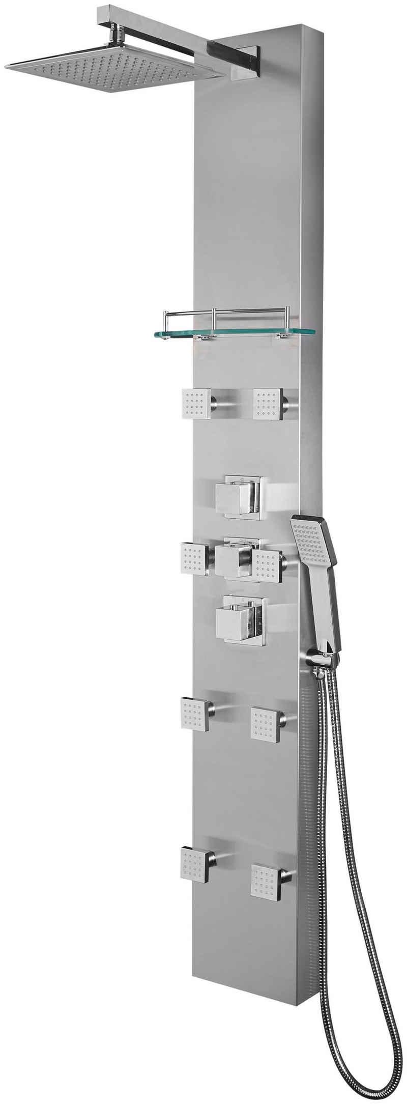 welltime Duschsystem »Raindrop«, Höhe 155 cm, 3 Strahlart(en), mit 8 Massagedüsen