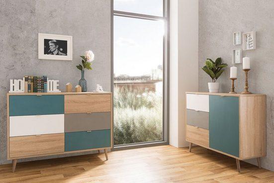 Newroom Kommode »Jona«, Sideboard Sonoma Eiche Modern Highboard Anrichte Skandinavisches Design Wohnzimmer Schlafzimmer Flur Esszimmer