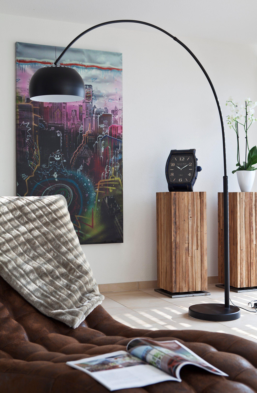 SalesFever Bogenlampe schwarz lackiert mit Dimmer »Big Deal«