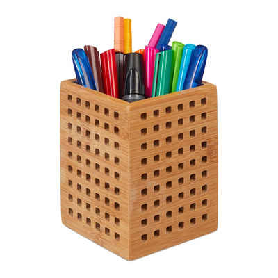 relaxdays Schreibgeräteetui »Stiftköcher Bambus«