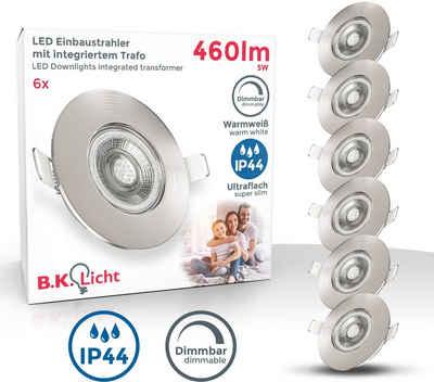B.K.Licht LED Einbauleuchte, LED Einbauspots dimmbar Badlampe IP44 Einbauleuchte inkl. 5W Spot Strahler flach 6er SET