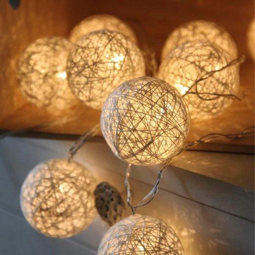 STAR TRADING LED-Lichterkette »LED Ball Lichterkette SISAL - 10 warmweiße LED - 1,35m - inkl. Trafo - weiß«, 10-flammig