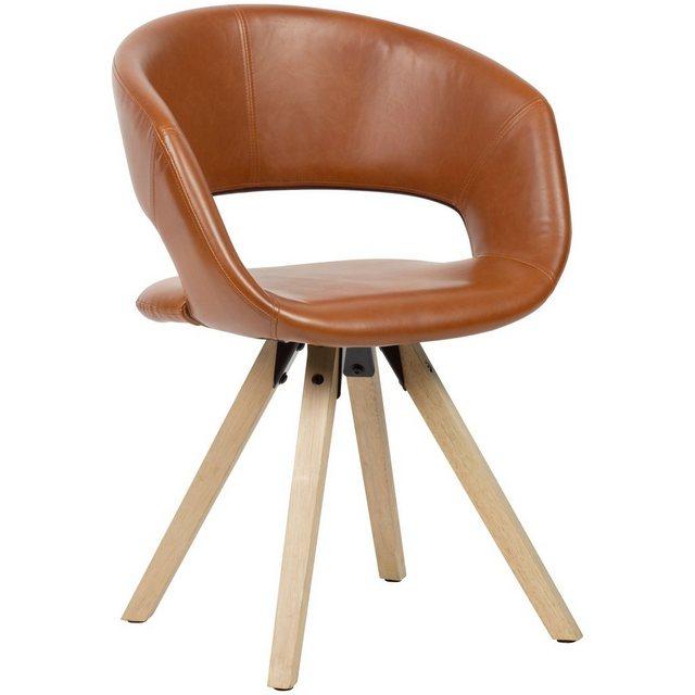 Stühle und Bänke - FINEBUY Esszimmerstuhl »SuVa18947 1« Esszimmerstuhl Kunstleder Massivholz Retro Küchenstuhl mit Lehne Stuhl mit Holzfüßen Polsterstuhl Maximalbelastbarkeit 110 kg  - Onlineshop OTTO