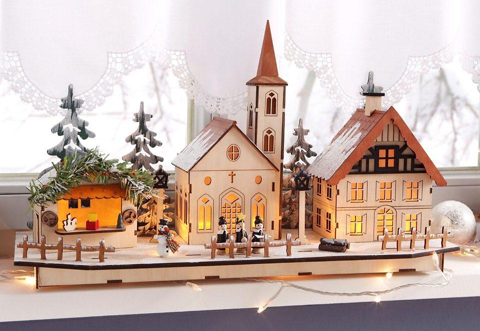 LED-Weihnachtsdorf aus Holz