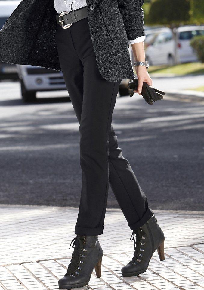 Stehmann Hose mit verdecktem Knopf- und Reißverschluss in schwarz