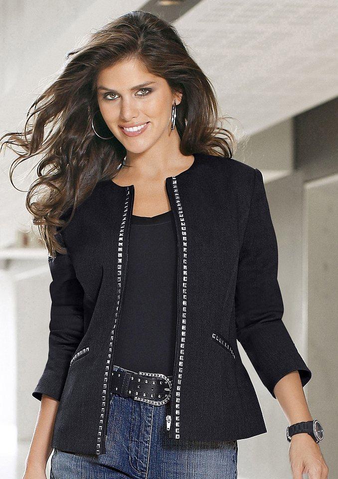 Damen Classic Inspirationen Blazer im trendigen neuen Look schwarz | 06903895752242