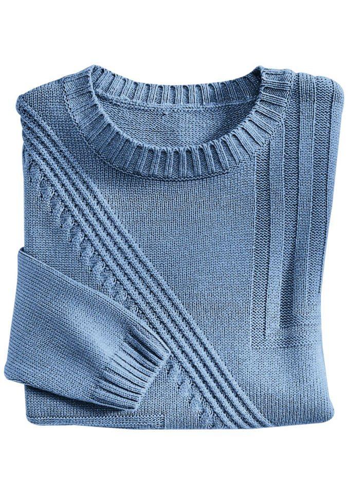 Classic Pullover mit dekorativem Strickmuster in taupenblau