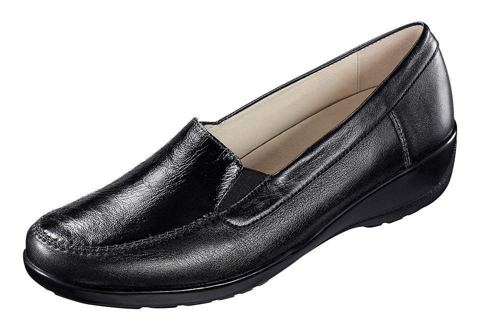 Regent Slipper mit Leder-Wechselfußbett in schwarz