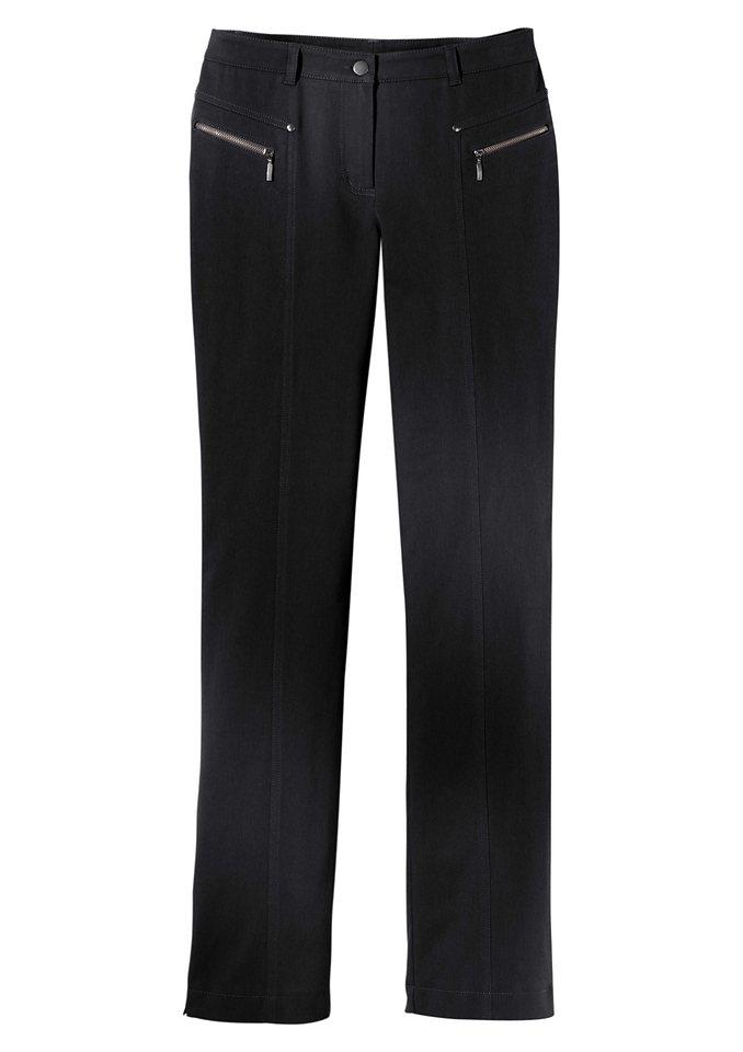Stehmann Hose mit optisch streckenden Ziernähte in schwarz