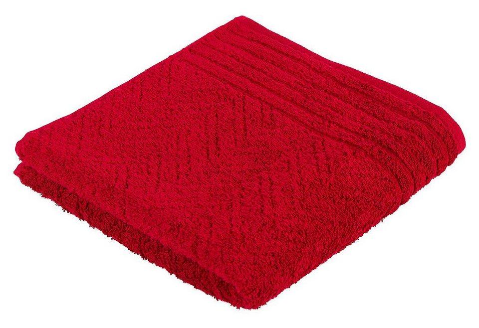 Handtuch, Frottana, »Elegance«, mit Musterprägung in rubin
