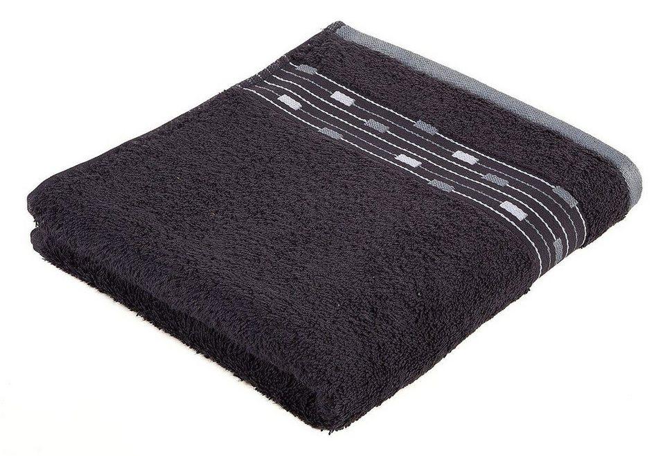 Handtuch, Frottana, »Magic Uni«, mit Bordüre aus kleinen Rechtecken in graphit