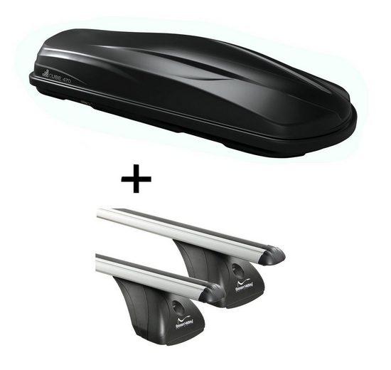 VDP Fahrradträger, Dachbox/Gepäckbox CUBE470 + Dachträger Original kompatibel mit Audi A6 (C6) 4 Türer 2004-2011