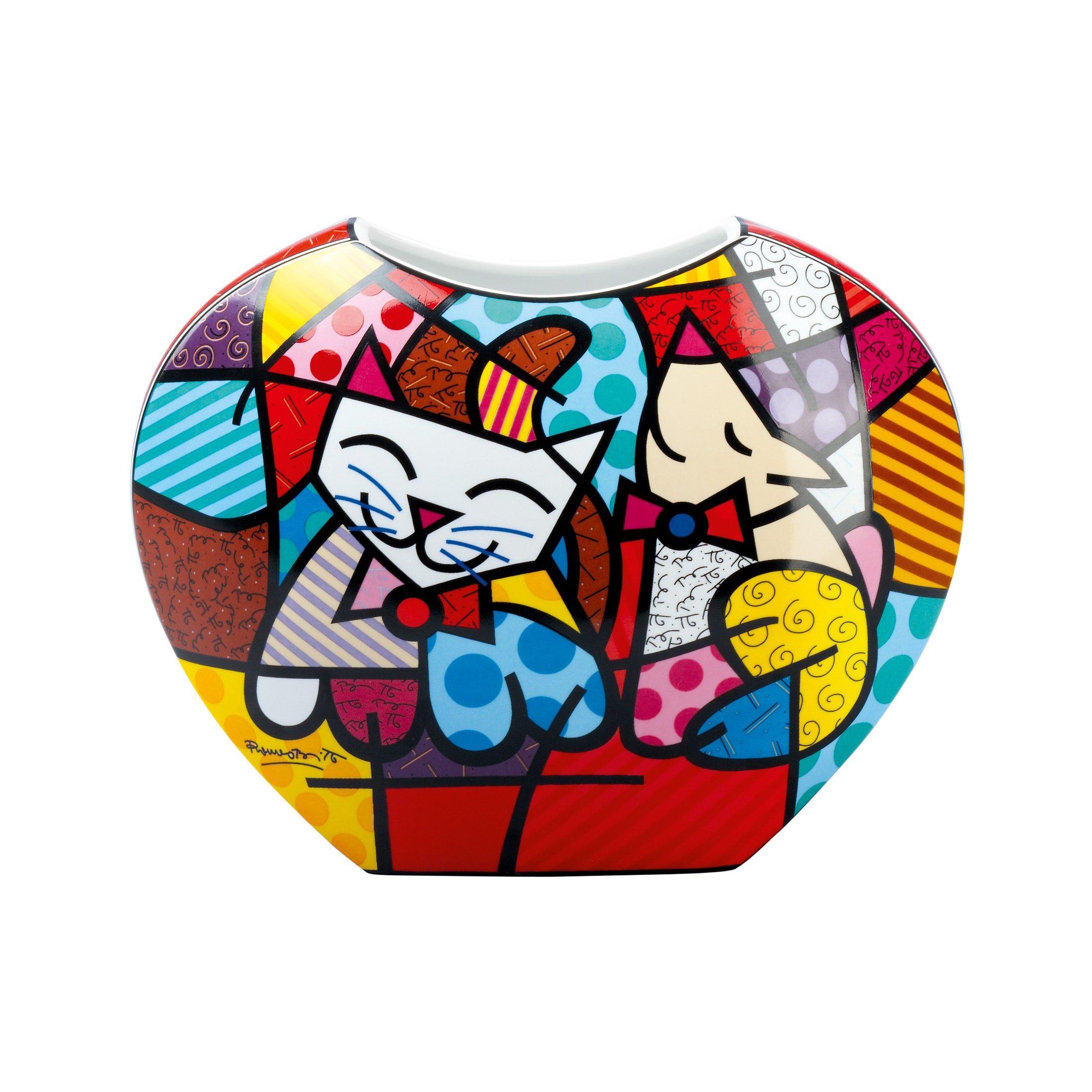 Goebel Vase Happy Cat Snop Dog »Artis Orbis - Britto«