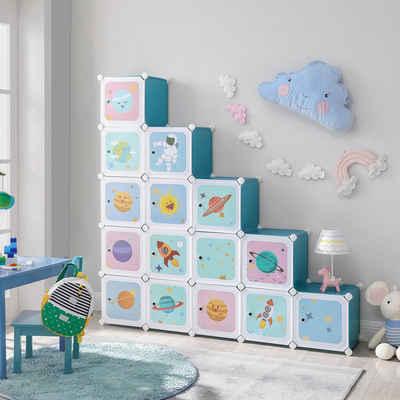 SONGMICS Steckregal »LPC902Q01«, Regalsystem mit 16 Würfeln, Schuhregal, Kleiderschrank, Kinder, Spielzeug, blau