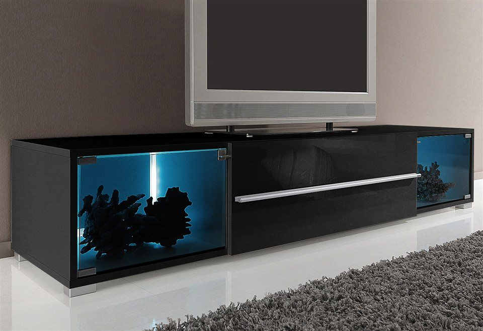 tv lowboard mit 2 vitrinenf chern breite 141 cm oder 161 cm online kaufen otto. Black Bedroom Furniture Sets. Home Design Ideas