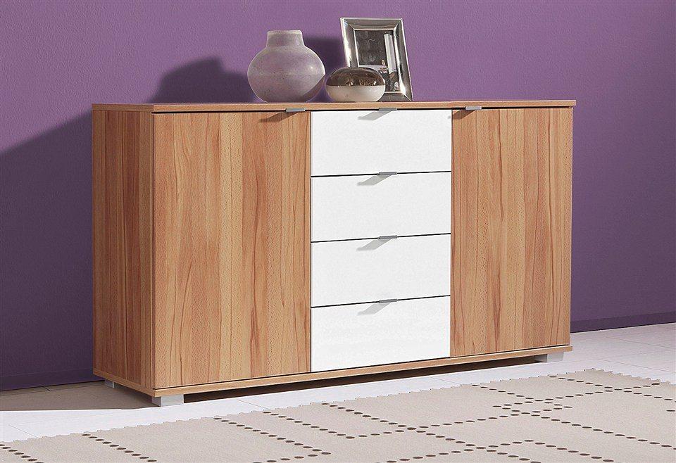 Sideboard, Breite 123 cm in kernbuchefarben-weiß