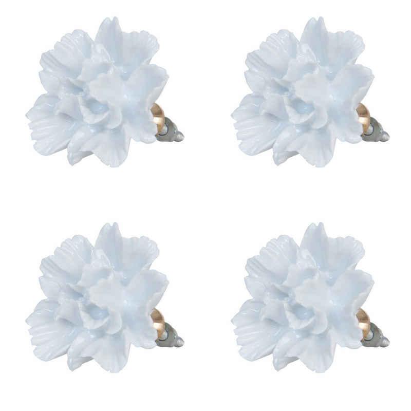 Clayre & Eef Möbelknopf, 4er-Set Möbelknöpfe, Modell ROMANTIC FLOWER, extra groß 5 cm Durchmesser, weiß Blütenform, Keramik, Vintage-Stil, als Griffe zum Aufziehen mit Dekor
