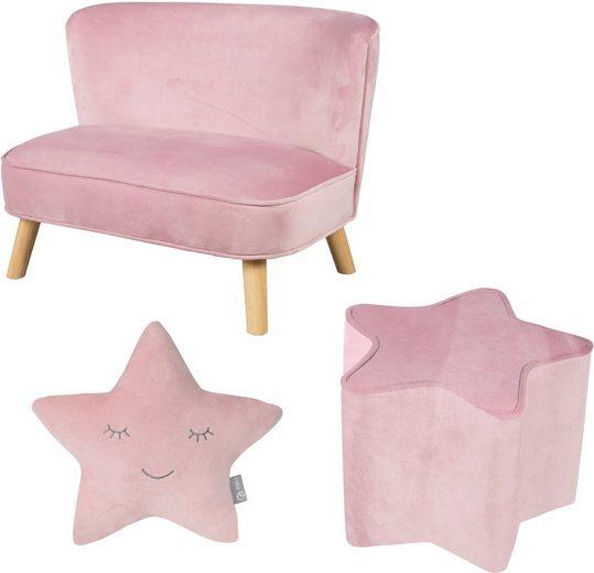 roba® Kindersitzgruppe »Lil Sofa«, (Set, 3-tlg), bestehend aus Kindesofa, Kinderhocker und Dekokissen in Sternform