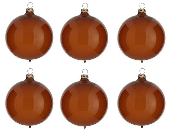 Thüringer Glasdesign Weihnachtsbaumkugel »Transparent« (6 Stück), braun