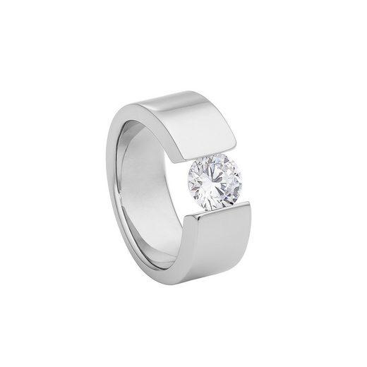 Heideman Fingerring »Turris poliert« (1-tlg), Spannring mit großem Stein