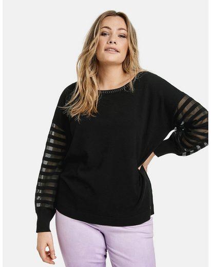 Samoon Rundhalspullover »Pullover mit transparentem Streifen-Design« Feinstrick