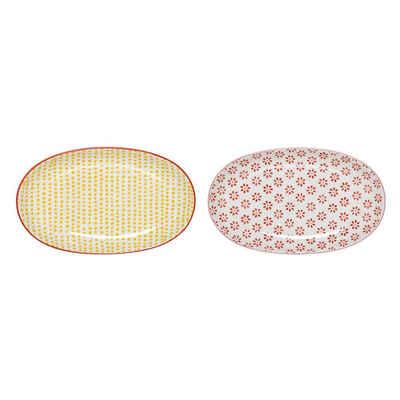 Bloomingville Teller »Servierplatte Susie«, (2 Stück), Set, Keramik, Servierteller, ovale Teller, dänisches Design
