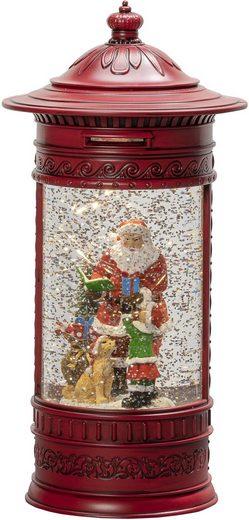 """KONSTSMIDE LED Laterne, LED Wasserlaterne, rot, Briefkasten, """"Weihnachtsmann mit Kind und Hund"""""""
