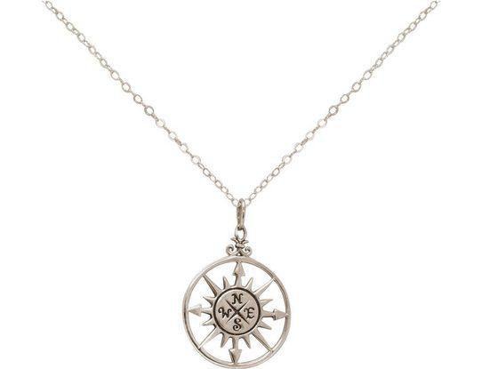 Gemshine Kette mit Anhänger »Maritim Nautics Windrose Kompass«, 925 Silber Made in Spain