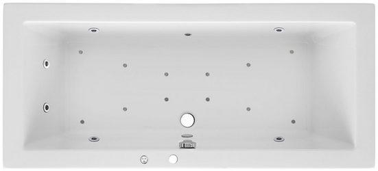 OTTOFOND Whirlpool-Badewanne »Cubic«, (Komplett-Set, 3-tlg), Typ Premium, chrom