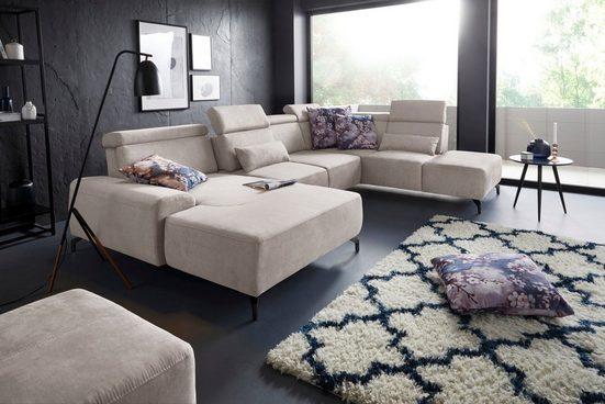 sit&more Wohnlandschaft, 12 cm Fußhöhe, inklusive Sitztiefenverstellung und Kopfteilverstellung, wahlweise in 2 unterschiedlichen Fußfarben