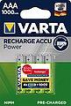VARTA »VARTA RECHARGE ACCU Power vorgeladener AAA Micro NiMH Akku (4er Pack, 1000mAh) - Wiederaufladbar ohne Memory-Effekt - Ready to Use Technologie« Batterie, Bild 1