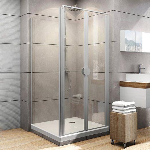 Schulte Eckdusche »Sunny«, BxT: 90x90 cm, Einscheibensicherheitsglas, Set, Höhe inklusive Stabilisationsbügel 1850 mm