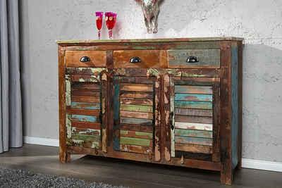 riess-ambiente Sideboard »JAKARTA 125cm bunt«, recyceltes Massivholz · Anrichte · mit 3 Schubladen · Kommode · Wohnzimmer