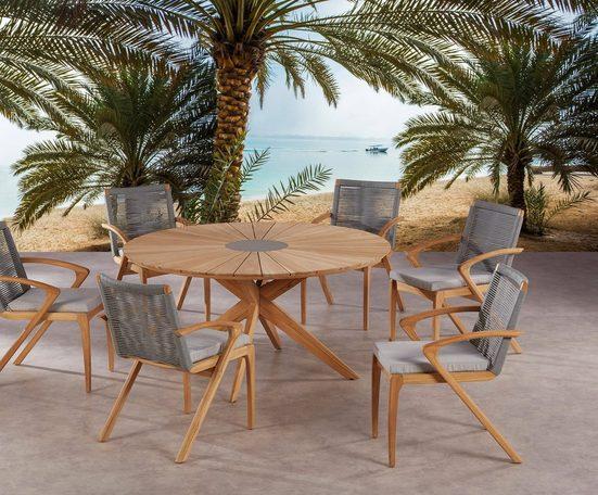 BEST Gartenmöbelset »Agadir«, 6 Sessel, 6 Sitzkissen, Tisch Ø 150 cm