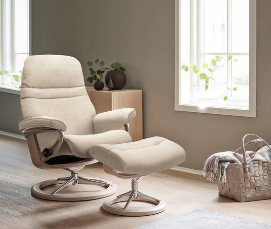 Stressless® Relaxsessel »Sunrise« (Set, Relaxsessel mit Hocker), mit Signature Base, Größe M, Gestell Whitewash