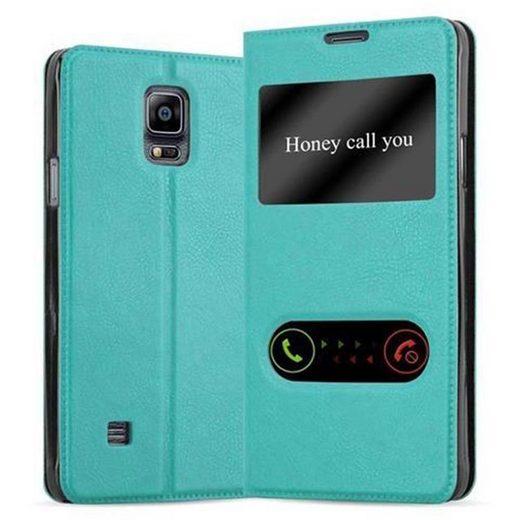 Cadorabo Handyhülle »Hülle case cover für« Samsung Galaxy NOTE 4, Magnetverschluss, Standfunktion und 2 Sichtfenstern, Kunstleder, Klapphülle
