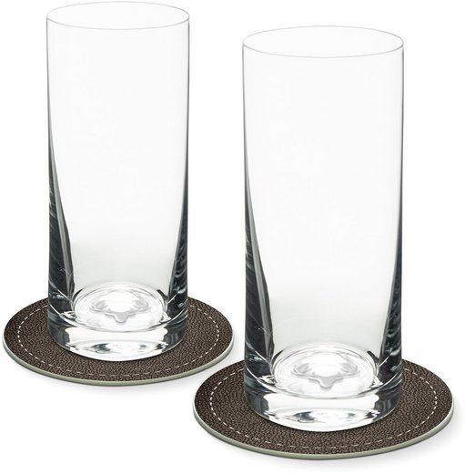 Contento Longdrinkglas, Glas, Hirsch, 400 ml, 2 Gläser, 2 Untersetzer