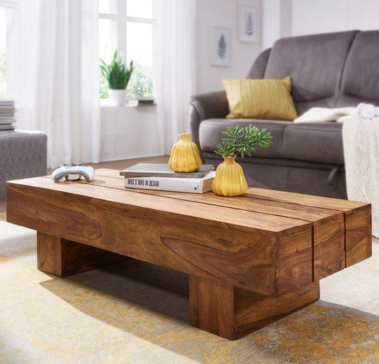 Wohnling Couchtisch »WL1.325«, SIRA Massiv-Holz Sheesham 120cm breit Design Wohnzimmer-Tisch dunkel-braun Landhaus-Stil Beistelltisch