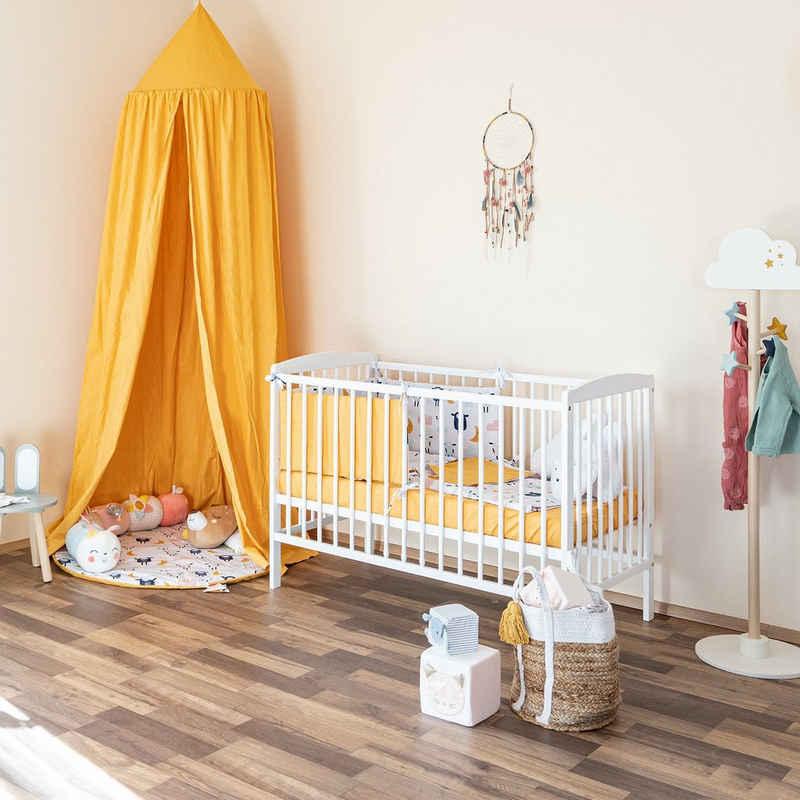 Alcube Babybett »Emmi«, Baby Bett 60x120 cm ohne Schubladen Juniorbett mit Rausfallschutz 120 x 60 Gitterbett aus Kiefernholz inkl. Lattenrost - Kinderbett Maße: 125 x 65 x 87 cm