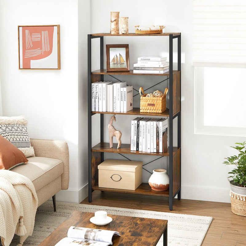 VASAGLE Bücherregal »LBC073B01«, Standregal, 5 Ebenen, Gitter-Rückwand, Wohnzimmer, Schlafzimmer, vintage