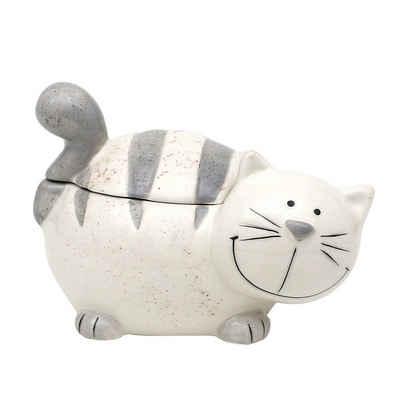 Dekohelden24 Zuckerdose »Keramik Dose mit Deckel, als Katze.«, Keramik, (1-tlg)