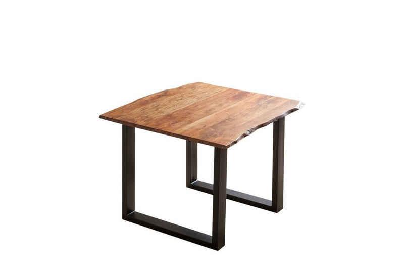 SAM® Baumkantentisch »Laurina by Wolf Möbel« (Nougatfarben), Tisch Baumkante 80 x 80 cm nougatfarben schwarz