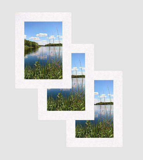 CABBEL Bilderrahmen, für 3 Bilder (3er Set, 3 Stück), Fotorahmen aus Holz Weiß / Echtglas [3 Stück] Bildformat: 10 x 15 cm