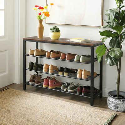 VASAGLE Schuhregal »LBS14BX«, Schuhablage, mit 3 engmaschigen Gitterablagen, Flur, Wohnzimmer, vintage