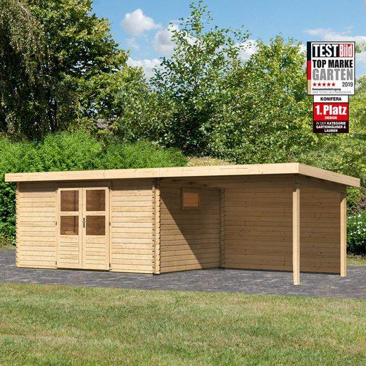 KONIFERA Set: Gartenhaus »Hartsee 5«, BxT: 706x333 cm, mit Anbaudach